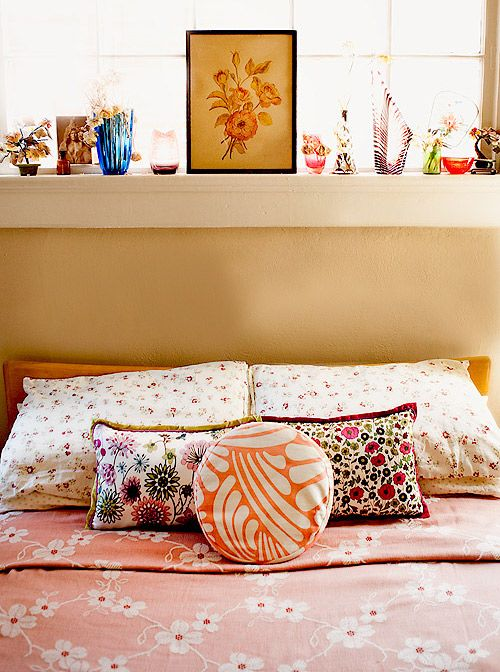 Love this mix of bedding.