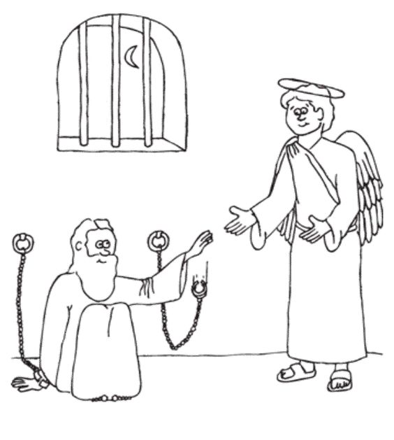 peter and john in jail coloring page - peter is miraculously released from prison coloring page
