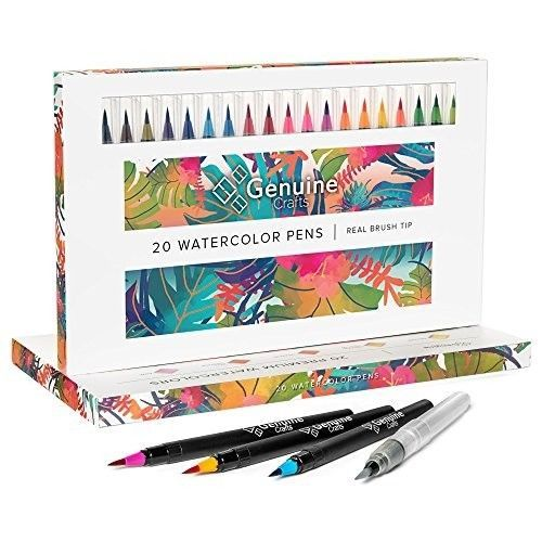 Watercolor Brush Pens By Genuine Crafts Set Of 20 Premium Colors
