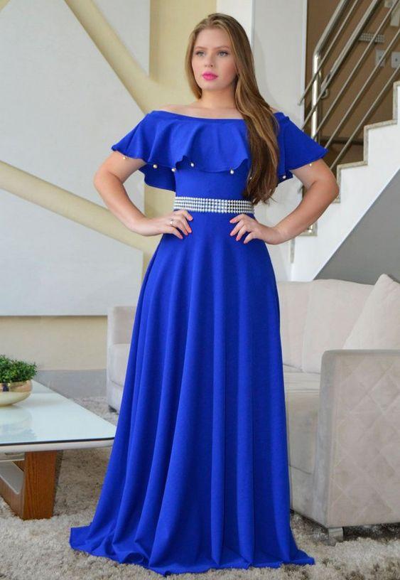 Vestido Longo Crepe Azul Royal - Moda Evangélica - Flor de Amêndoa