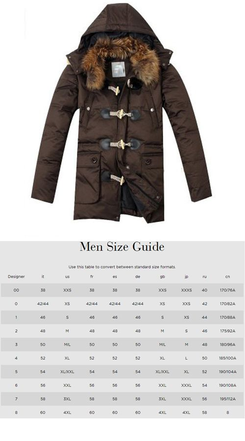 Luxury Mens Suit Size Chart down jackets multi moncler pockets