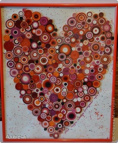 Поделка, изделие Квиллинг: квиллинг-сердце)) Бумажные полосы День рождения. Фото 1