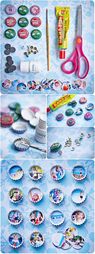 Easy Craft Tutorial: Display your favorite photos in a fun, new way. These bottlecap magnets or pushpins can be made by tracing a quarter, cutting out the image, and gluing it to the back of the bottlecap. Then, just add the tack or magnet. #photocraft #upcycling @craftcreativity