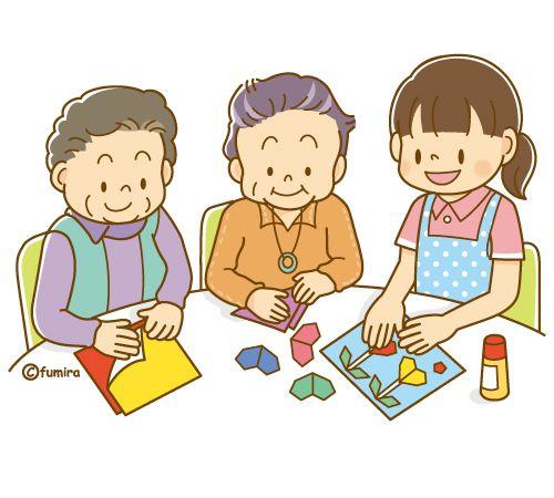 折り紙をする老人とヘルパーさん ソフト 老人 高齢者 折り紙