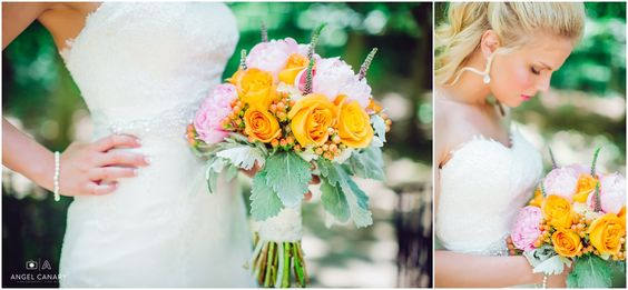 pink blush pastel coral pops of color and orange bride bouquet | florals