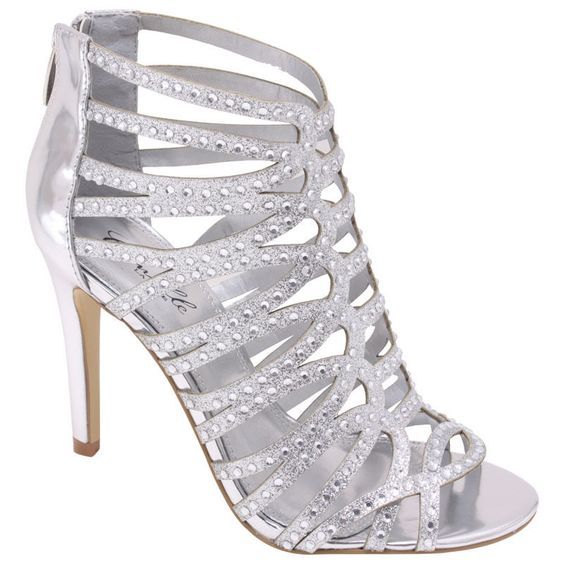 Silver High Heel Strappy Sandal Rhinestone Bridal Prom Wedding Formal Shoes #WildRose #OpenToe #ClubWeddingPromBridalDancingEveing