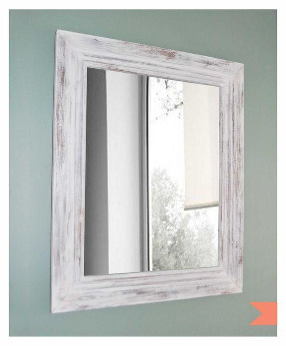 Marco patinado envejecido de madera con espejo 400 en for Como hacer un espejo con marco de madera