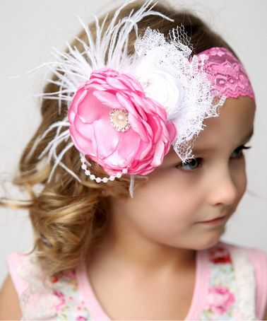 Another great find on #zulily! Raspberry Daiquiri Pearl Rosette Lace Headband by Lollies and Lace Boutique #zulilyfinds