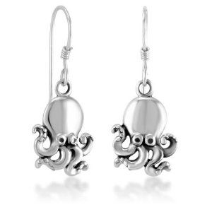 925 Sterling Silver Cute Octopus Dangle Earrings 1'', Fashion Jewelry for Women, Teens, Girls - Nickel Free