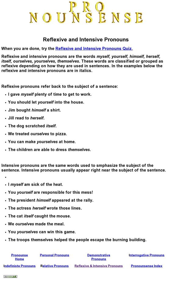 Worksheets Reflexive And Intensive Pronouns Worksheet grammar and quizes on pinterest reflexive intensive pronouns quiz from nounsense