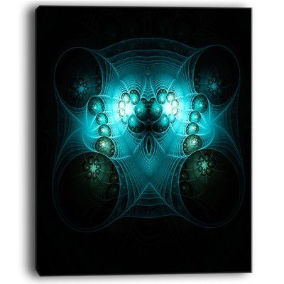 DesignArt Bright Blue in Black Fractal Flower Graphic Art on Wrapped Canvas Size: