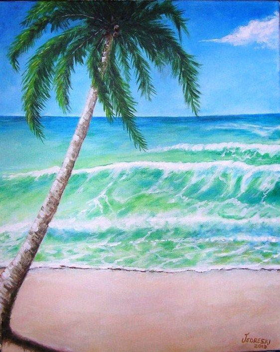 Tropical Beach Original Acrylic Painting by gitane54 on ...
