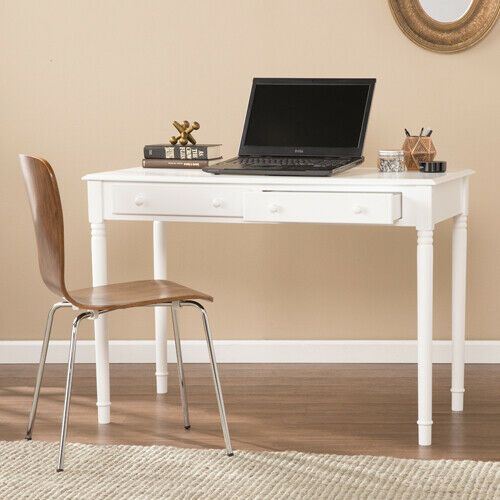White Wooden Desk Home Office Work Station Writing Table With Drawer Minimalist Workstation Office Ideas Of Workstation Office Workstationoffice Workstati In 2020