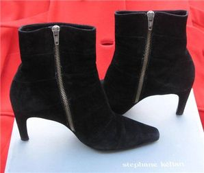 Black Suede Ankle Boots By Stephane Kelian