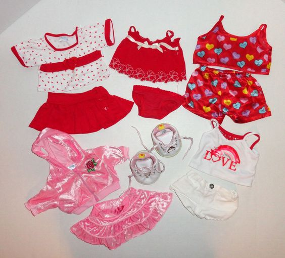 Build a Bear Girls Clothes Red Pink Shirts Skirts Set Lot #4 #BuildaBear