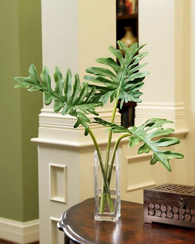 Silk Philodendron Leaf Accent