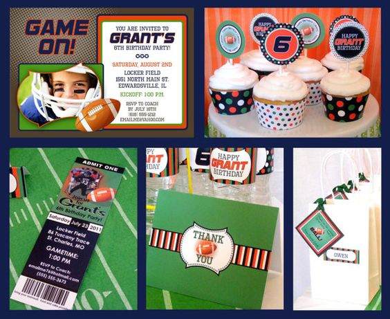 Football Sports Birthday  SMALL Custom by allisonpowelldesigns, $25.00