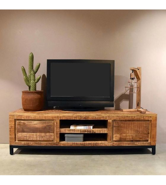 Lef Collections Tv Cabinet Ghent Brown Black Wood Metal
