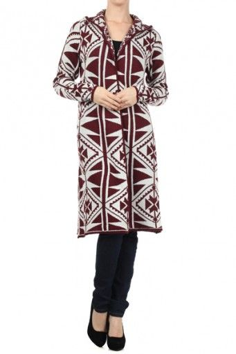 Aztec tribal printed, long, long sleeve open hooded sweater.