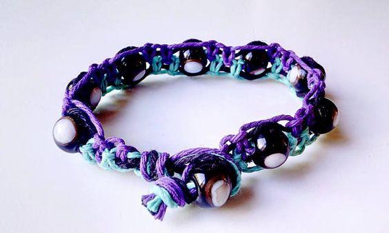 Teal & Purple Beaded Hemp Bracelet  Handmade by WartickRavels