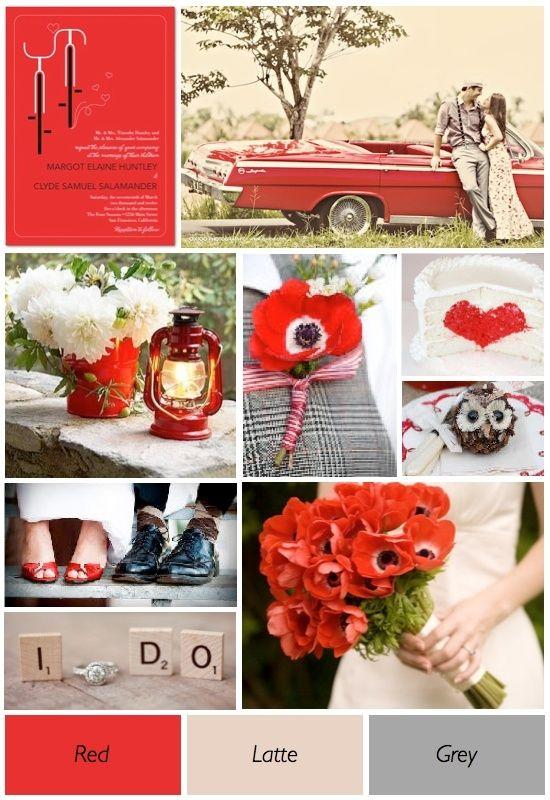 grey - great wedding colour scheme. Red poppies and Raununculus, Birch bark, grey undertones (pussy willow?)