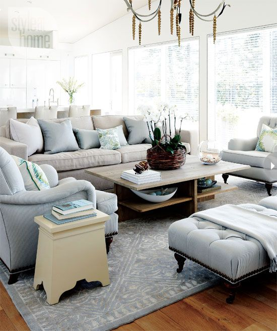 The cottage fisher and style on pinterest - Grey and blue living room ...