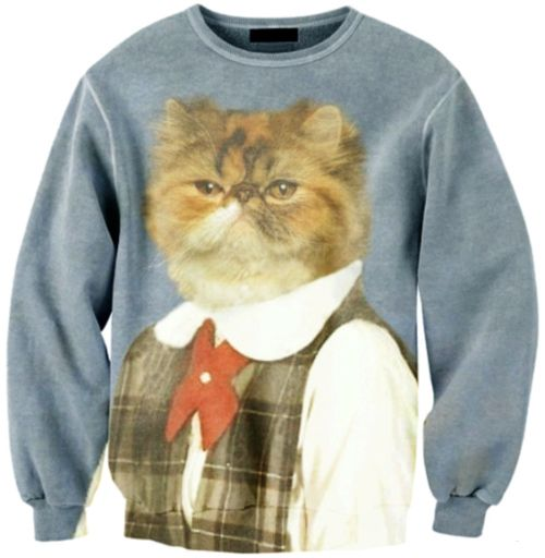 Ugly Cat Sweater haha !  #fun #cat #sweatshirt  {Hey, have you downloaded the FREE Sweater-izer App yet?  It's awesome fun if you like a tacky Christmas sweater!  Check it out: http://funistheanswer.com/sweater-izer/