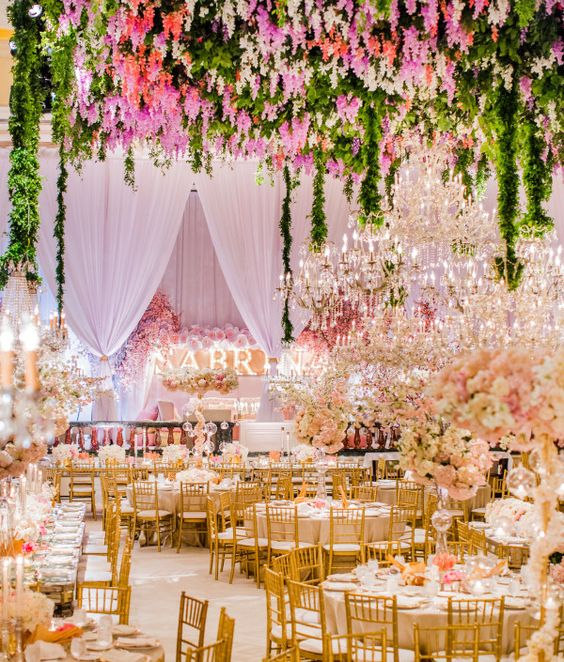 Wisteria + Crystal Chandeliers - Heavenly Bat Mitzvah   White Lilac Inc.