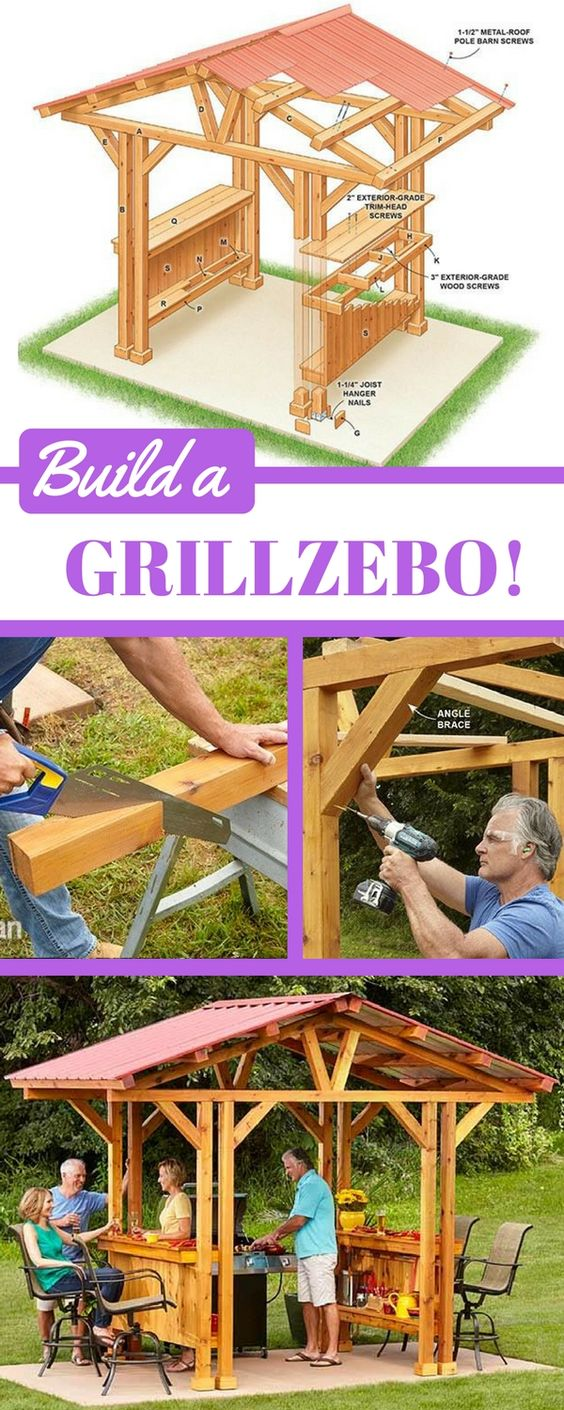 """If you're looking for outdoor bar ideas or DIY gazebo plans, this """"grillzebo"""" is perfect. It's big enough to accommodate most standard grills but small enough that it might just fit on your existing patio. Customize your own grillzebo with lighting, grill accessory storage, wine glass racks or built-in coolers. http://www.familyhandyman.com/garden-structures/grill-gazebo-plans-make-a-grillzebo/view-all"""
