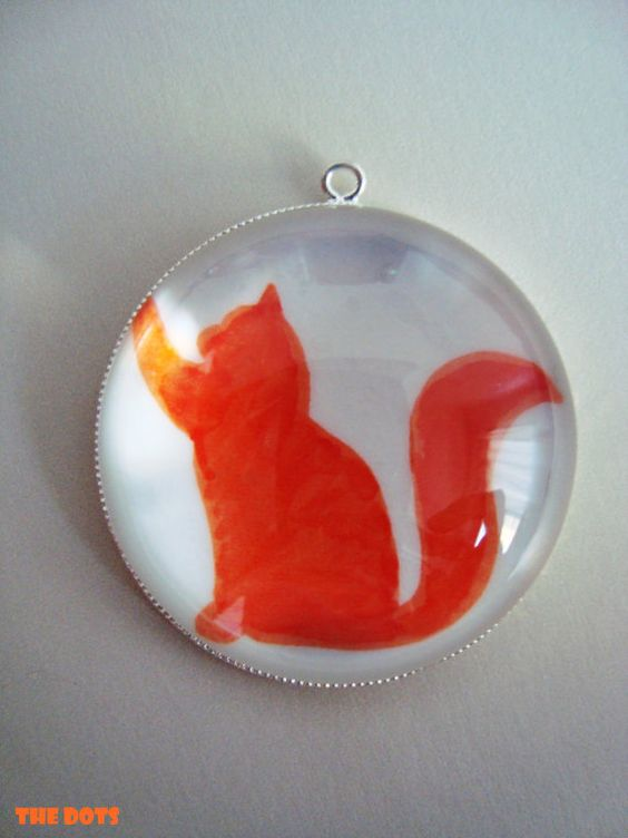 Cat orange silhouette  glass pendant necklace by TheDotsBrazil, $15.00