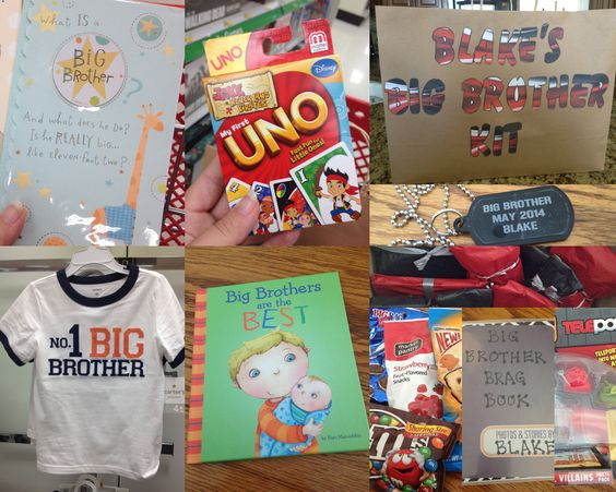 Top 10 Ideas to put in a Big Brother Kit: 1. Big brother book 2. Big brother t-shirt 3. Big brother card 4. A new game  5. Big brother necklace 6. Big Brother Brag Book (put pics in later of the big day) 7. A new toy 8. Snacks to keep busy while waiting 9. Lollipops 10. Cards to play different card games with family members  Individually wrap every present and place in a bag that says Big Brother Kit.  Big brother will be excited to open every little item, and that can pass the time away…