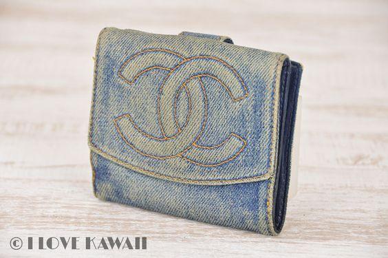 CHANEL Blue Denim Leather CoCo Mark Bifold Purse