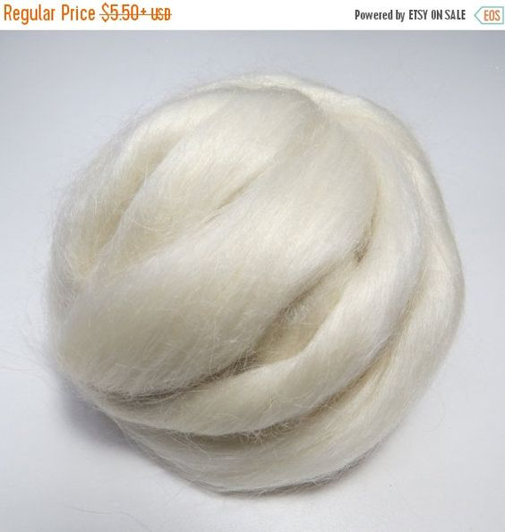 Kid Mohair roving , Natural White