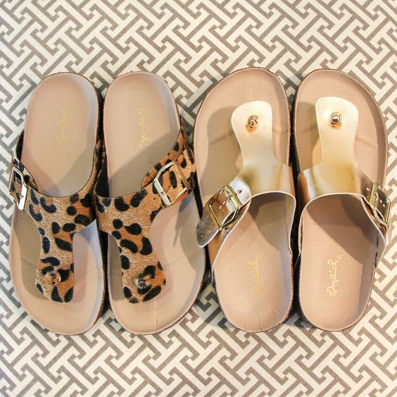 """""""Hey, I put some new shoes on and suddenly everything is right..."""" // We've got new sandals in stock & we're loving them! #newshoes #leopard #gold #madisonraleigh"""