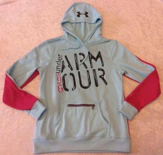 Under Armour Hoodie Sweatshirt Small Womens Aqua Pink Semi Fitted Zip Pocket #UnderArmour #Hoodie