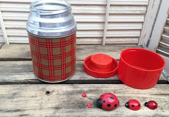 Plaid Aladdin Short Thermos~Glass Lined, Cup in lid, Red Plaid, Short Thermos