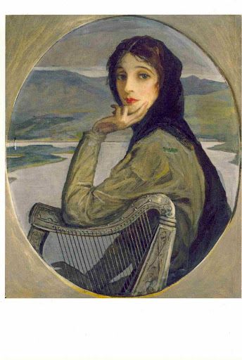 """Portrait of Lady Lavery as Kathleen Ni Houlihan, 1928: """" In 1928 the Currency Commission issued the first series of Free State banknotes in seven denominations. Sir John Lavery was commissioned to paint a portrait, symbolic of Erin, as their main feature.:"""