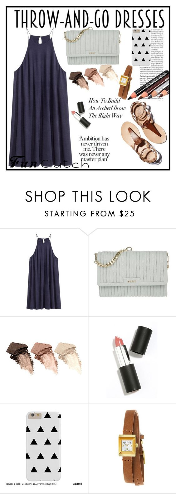 """""""Throw-And-Go Dresses"""" by general-blueberry87 ❤ liked on Polyvore featuring H&M, DKNY, Urban Decay, Sigma Beauty and Gucci"""