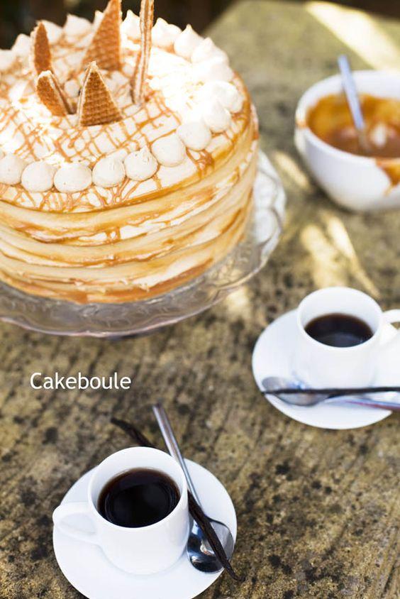 Coffee, Vanilla Latte & Caramel Layer Cake - oh my!