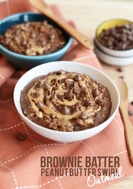 Brownie Batter Peanut Butter Swirl Oatmeal -1 cup rolled oats -2 cups vanilla almond milk, unsweetened -2 tablespoons cocoa powder, unsweetened -1 tablespoons peanut butter + 1 tablespoon peanut butter -pinch of salt -2 dashes of cinnamon -1/2 teaspoon vanilla -1/8 teaspoon liquid stevia or 1 tablespoon organic cane sugar or 1/2 mashed banana -tablespoon of chocolate chips (optional)