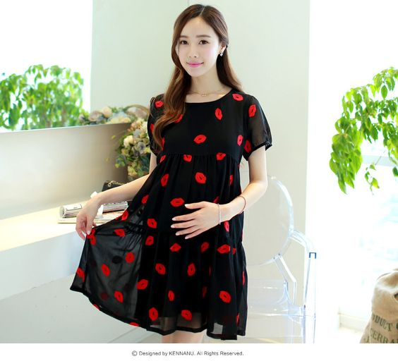 (Buy here: http://appdeal.ru/1810 ) Spring and summer maternity Chiffon Dress maternity size short sleeved women new Korean sweet Maternity Skirt for just US $39.99