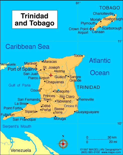 Map Of Trinidad And Tobago Showing Location Of Natural Resources