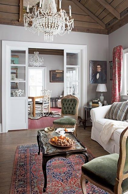 Country living-living room. - Click image to find more Home Decor Pinterest pins: Grey Walls, Living Rooms, Country Living, Eclectic Farmhouse, Green Chairs
