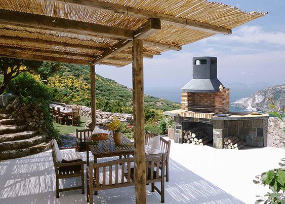 Barbacoa modelo niza barbacoa de obra de gran capacidad interior con mesas laterales y pila - Barbacoas de piedra natural ...