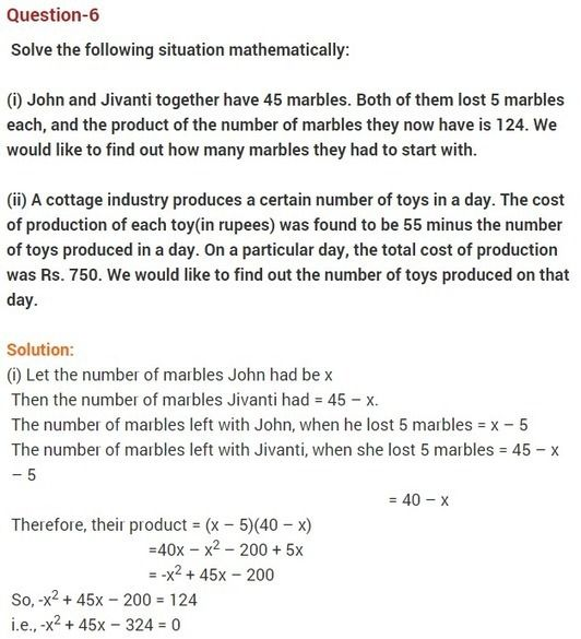 Ncert Solutions For Class 10 Maths Chapter 4 Quadratic Equations Quadratics Quadratic Equation Maths Ncert Solutions