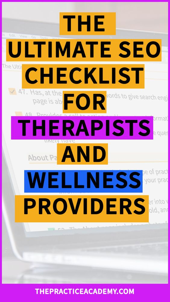 Are you a therapist, acupuncturist or wellness provider who wants to attract more clients online? The Ultimate SEO Checklist includes exactly how to optimize your website with search engine optimization techniques so your website will rank higher in Google search results. Click through to read the whole post and download the SEO checklist!