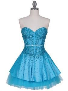 Turquoise Beaded Party Dress Sweetheart Neckline