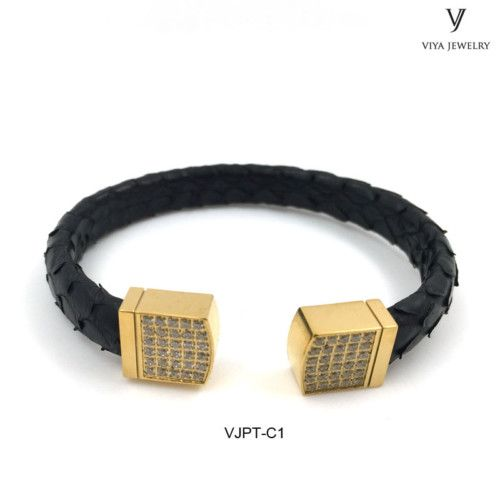 authentic python leather black and gold cuff bracelet