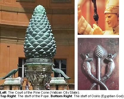 You can see representations of this pine shaped gland, in the form of a pine cone, across Europe and Egypt. The Vatican built the court of the pine cone, which is adorned with a large stone pine cone in front of it's entrance. It is also found on the staff of the Pope, and the Egyptian god Osiris.: