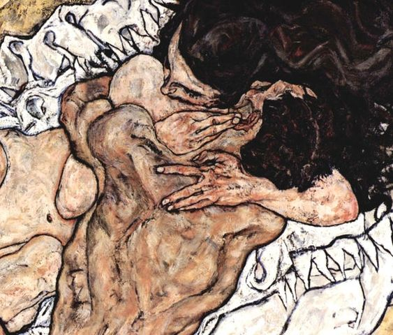 Egon Shiele Fine Art Print, Lovers Embrace, Figurative ExpressionismEgon Schiele (12 June 1890 – 31 October 1918) was an Austrian painter. A protégé of Gustav Klimt, Schiele was a major figurative painter of the early 20th century. His work is noted for its intensity and its raw sexuality, and the many self-portraits the artist produced, including nude self-portraits. The twisted body shapes and the expressive line that characterize Schiele's paintings and drawings mark the artist as an early ex